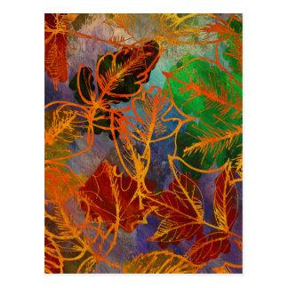 Fondo de las hojas de otoño del arte en colores postales