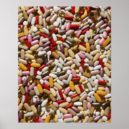 Fondo de las píldoras coloridas de la póster