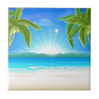 Fondo de las vacaciones de verano de la playa azulejo
