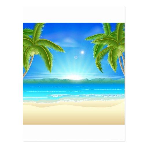 Fondo de las vacaciones de verano de la playa tarjetas postales