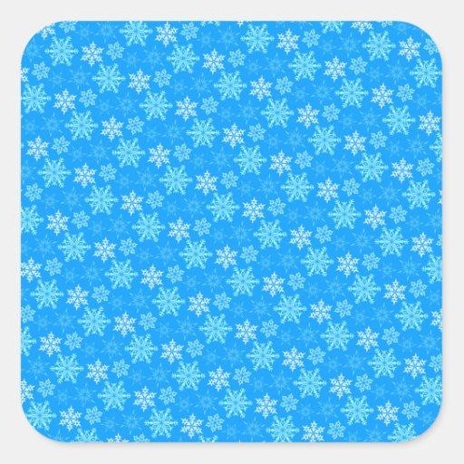 Fondo de los copos de nieve calcomanía cuadradas personalizadas
