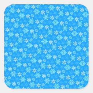 Fondo de los copos de nieve pegatina cuadrada