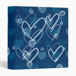 Fondo de los corazones en el azul, carpeta