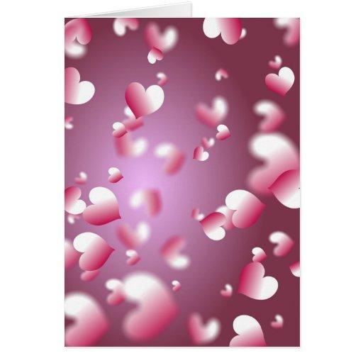 fondo de los corazones tarjeta de felicitación