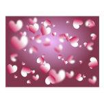 fondo de los corazones tarjetas postales