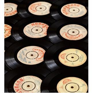 Fondo de los discos de vinilo fotoescultura vertical