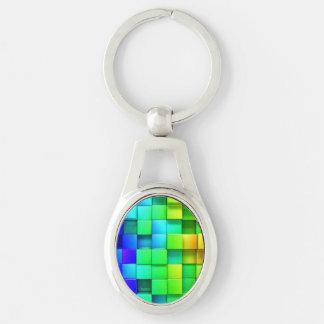 Fondo de los gráficos del arco iris 3d de los llavero plateado ovalado