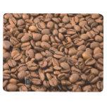 Fondo de los granos de café cuaderno grapado
