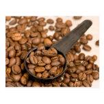 Fondo de los granos de café postales