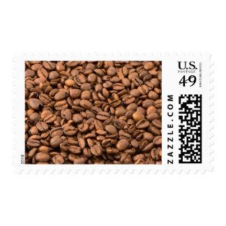 Fondo de los granos de café sello postal