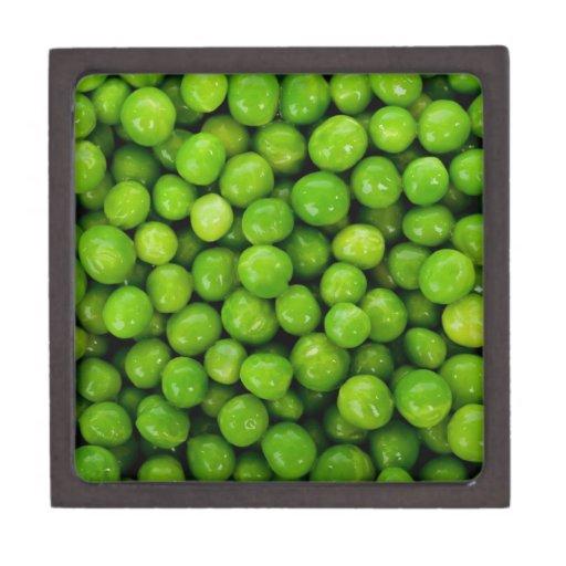 Fondo de los guisantes verdes caja de recuerdo de calidad
