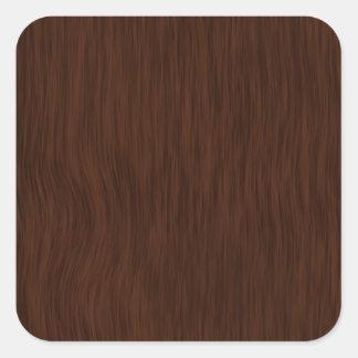 Fondo de madera áspero oscuro del grano pegatina cuadrada