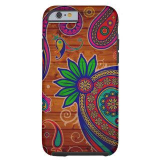 Fondo de madera colorido floral de la textura del funda de iPhone 6 tough