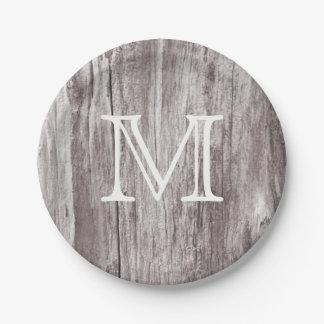 Fondo de madera del vintage del monograma viejo plato de papel de 7 pulgadas