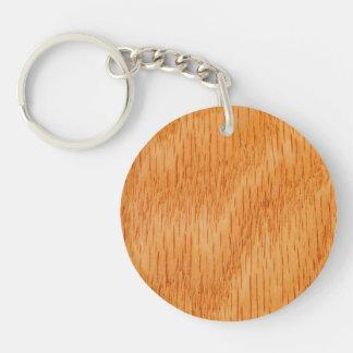 Fondo de madera - grano de bambú liso modificado llavero redondo acrílico a una cara