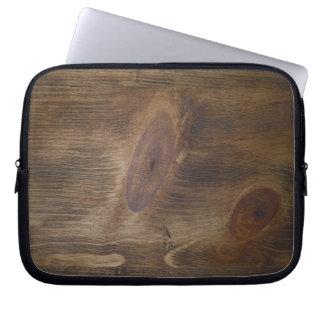 Fondo de madera rústico oscuro de la mirada de Bro Funda Portátil