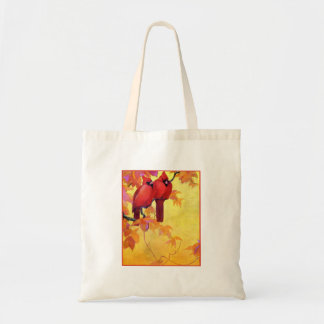 Fondo de oro de dos cardenales rojos bolsa tela barata