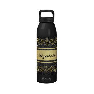 Fondo de oro de lujo oscuro botellas de beber