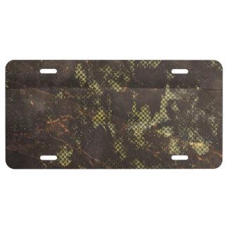 fondo de semitono verde oxidado sucio placa de matrícula
