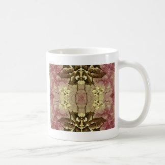 Fondo decorativo del collage floral taza de café