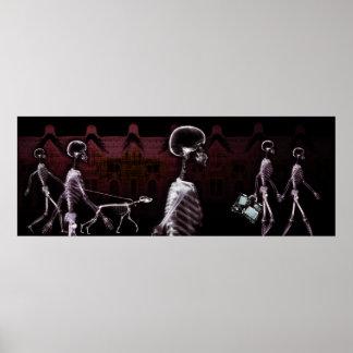 Fondo del acuario - ciudad del esqueleto de la rad póster