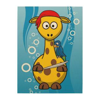Fondo del agua de la jirafa del pirata impresión en madera