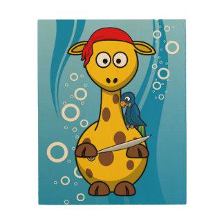 Fondo del agua de la jirafa del pirata cuadro de madera