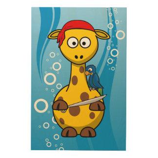 Fondo del agua de la jirafa del pirata impresiones en madera