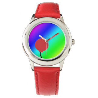 Fondo del arco iris con el reloj rojo del globo