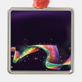 Fondo del arco iris del ordenador portátil adorno cuadrado plateado