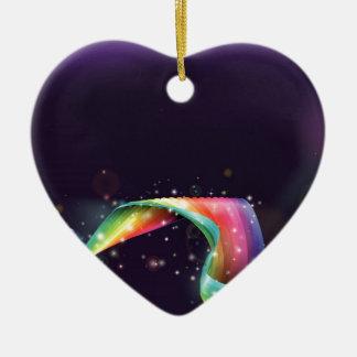Fondo del arco iris del ordenador portátil adorno de cerámica en forma de corazón