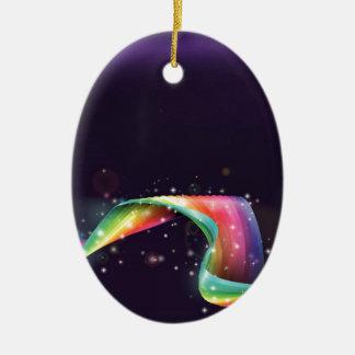 Fondo del arco iris del ordenador portátil adorno ovalado de cerámica