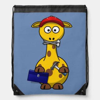 Fondo del azul de la jirafa de la manitas mochilas