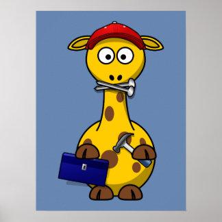 Fondo del azul de la jirafa de la manitas poster