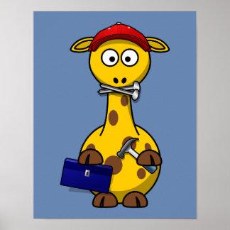 Fondo del azul de la jirafa de la manitas posters