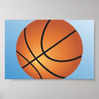 Fondo del azul del icono del baloncesto póster
