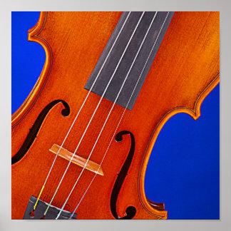 Fondo del azul del violín o del poster de la viola póster