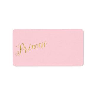 Fondo del brillo de la hoja de oro de princesa etiqueta de dirección