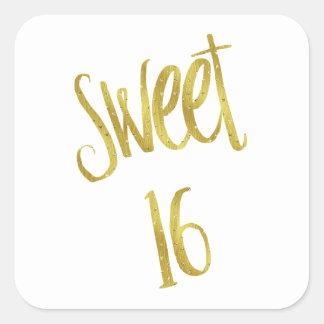Fondo del brillo del oro de la cita del dulce 16 pegatina cuadrada