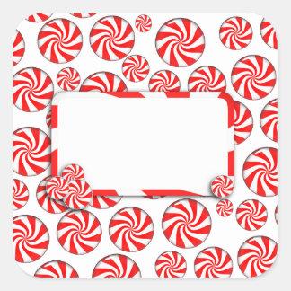 Fondo del caramelo de hierbabuena de Navidad con Calcomania Cuadradas Personalizadas