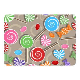 """Fondo del caramelo del Lollipop Invitación 5"""" X 7"""""""