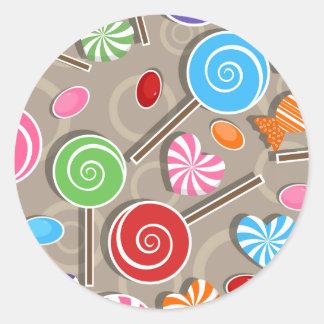 Fondo del caramelo del Lollipop Pegatina Redonda