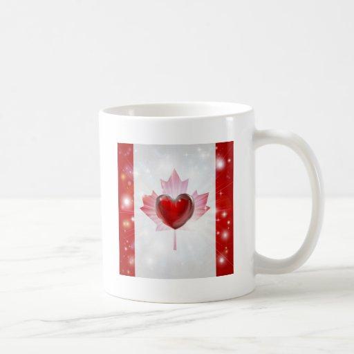 Fondo del corazón de la bandera de Canadá del amor Tazas De Café