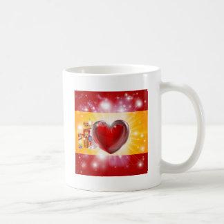 Fondo del corazón de la bandera de España del amor Tazas De Café