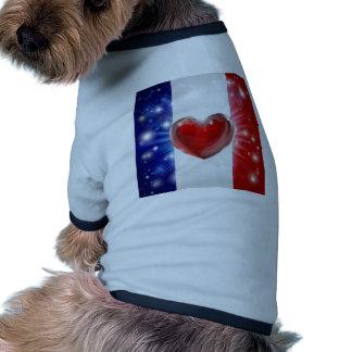 Fondo del corazón de la bandera de Francia del amo Camisa De Perrito