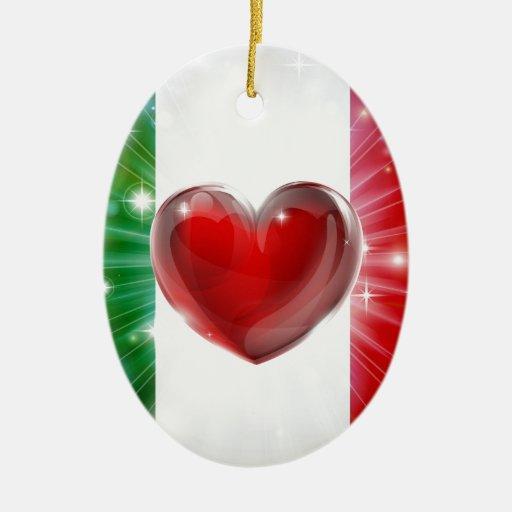 Fondo del corazón de la bandera de Italia del amor Ornato