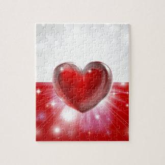 Fondo del corazón de la bandera de Polonia del amo Rompecabezas Con Fotos