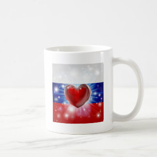 Fondo del corazón de la bandera de Rusia del amor Tazas De Café