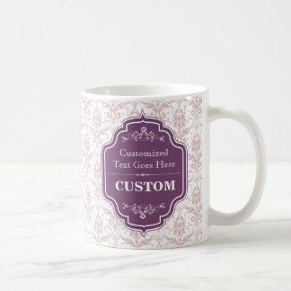 Fondo del damasco de la etiqueta de la berenjena taza clásica