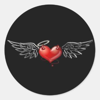 Fondo del diablo del ángel pegatinas redondas